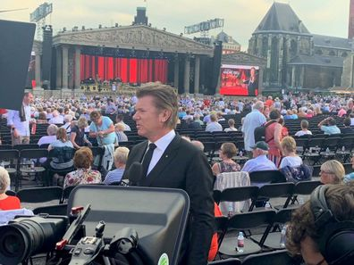 Richard Wilkins setting up for André Rieu concert in Maastricht in the Netherlands