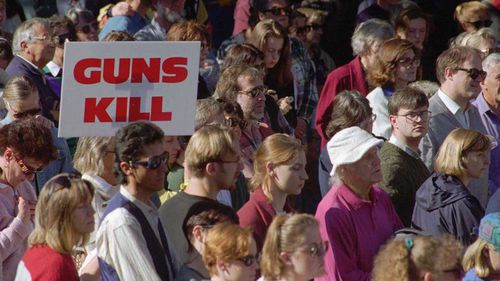 An anti-gun rally in Hobart in the wake of Port Arthur.