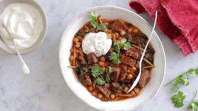 "Recipe: <a href=""http://kitchen.nine.com.au/2017/07/19/10/40/beef-harira-soup"" target=""_top"">Beef harira soup</a>"