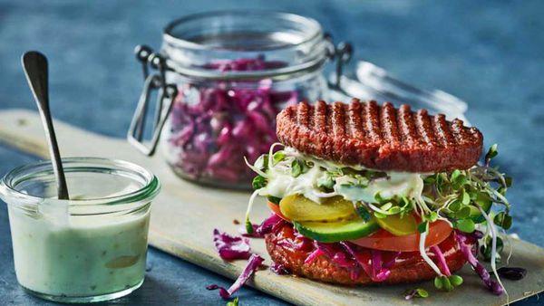 Inside out vegan burger