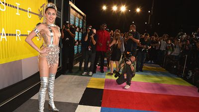 Pop singer Miley Cyrus managed to shock the audience with her skimpy and strange outfits when she hosted the 2015 Video Music Awards. (Getty)  Click through to see all of her outfits from the show.