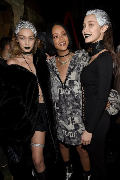 Rihanna's collaboration with Puma put a gothic twist on streetwear in a collection replete with hoodies, lace-up dresses and underboob.