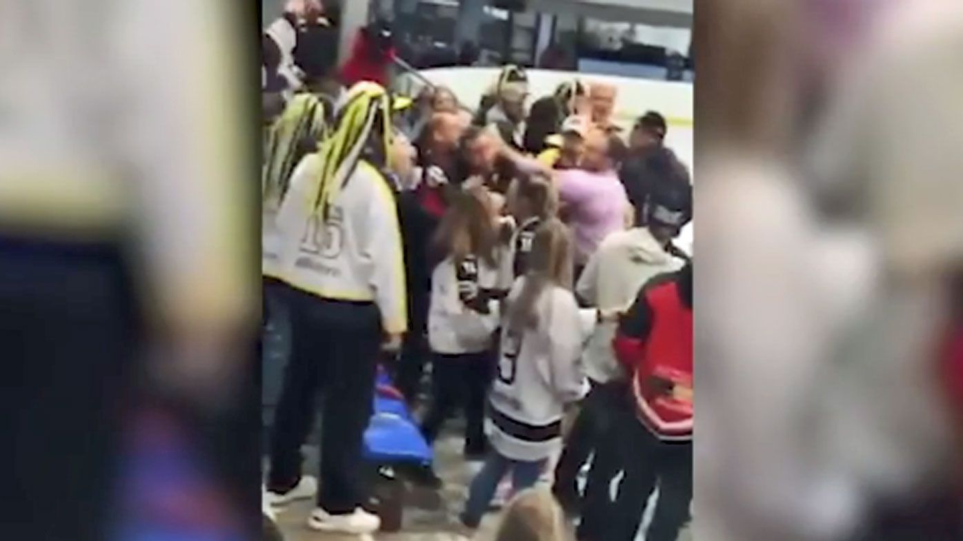Ice hockey brawl