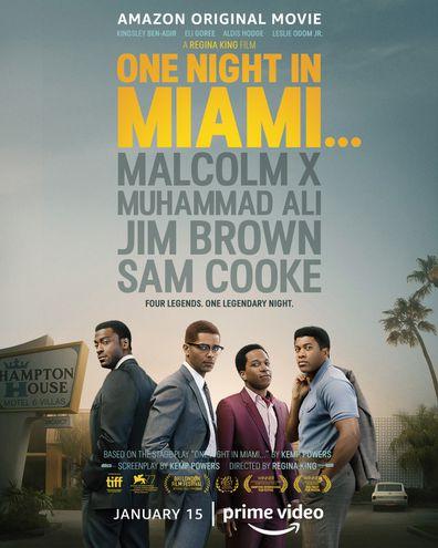 Leslie Odom Jr., Eli Goree, Kingsley Ben-Adir and Aldis Hodge star in One Night In Miami.