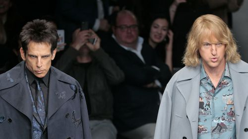 Ben Stiller and Owen Wilson make a surprise appearance on the catwalk in Paris. (AAP)