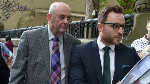 Peter Dawson, older brother of Chris Dawson, leaves Central Local Court on Friday.