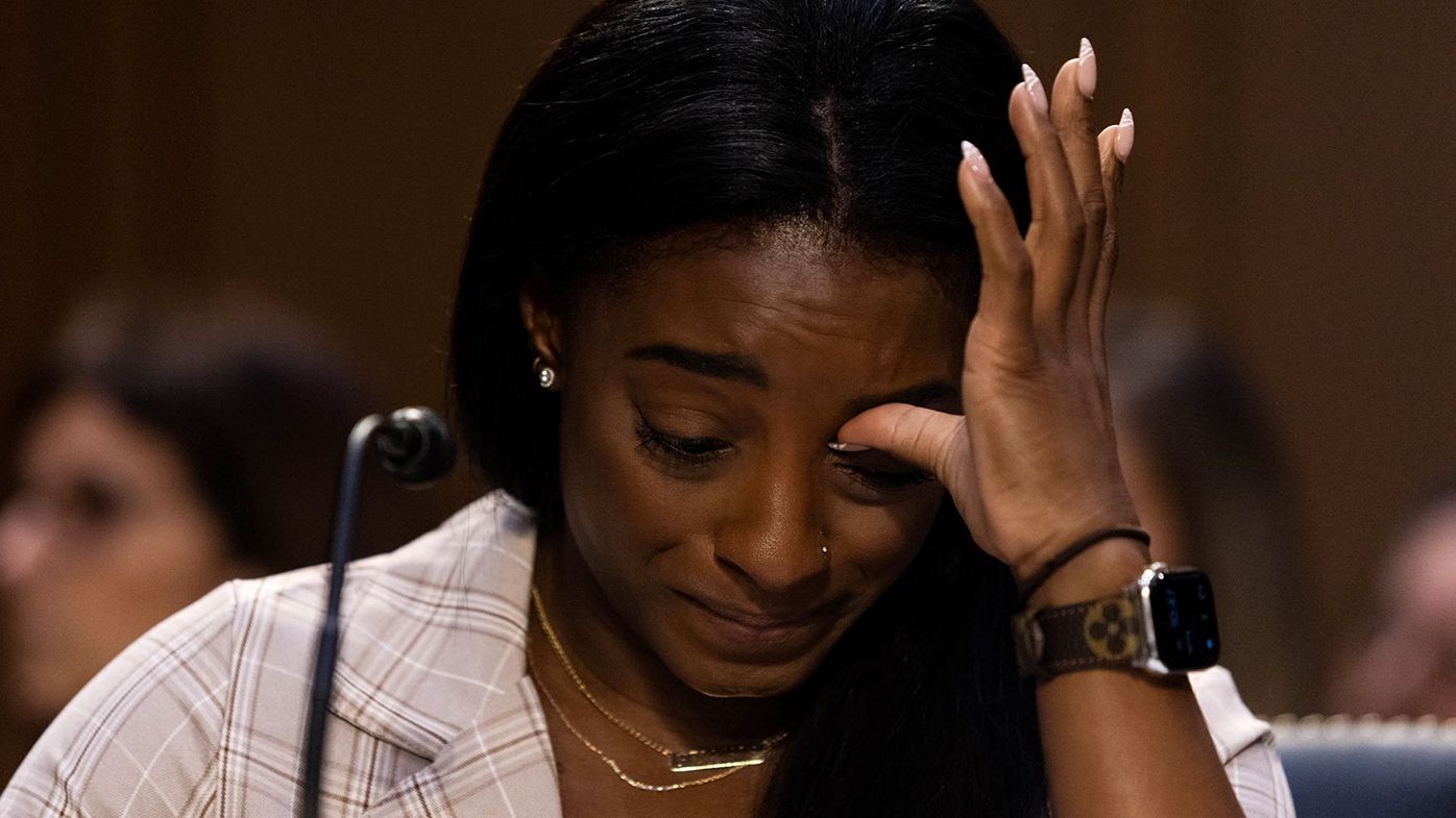 U.S. Olympic gymnast Simone Biles testifies during a Senate Judiciary hearing about the Inspector General's report on the FBI's handling of the Larry Nassar investigation on Capitol Hill, on September 15, 2021 in Washington, DC.