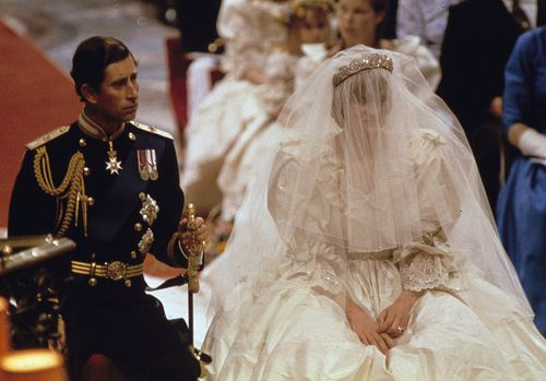 Bride Celia wore the same tiara as her late aunt Princess Diana at her wedding. Picture: AAP