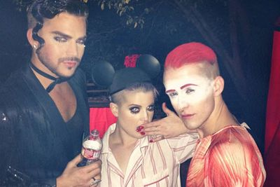 Mickey Mouse ears with running mascara in pyjamas = HOT.<br/><br/>Here's Kelly with pop star pal Adam Lambert and dancer Jake Thomson.