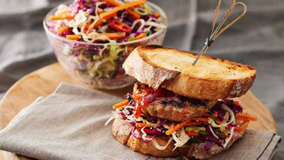 Peanut butter pork burger