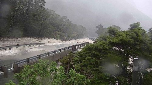 Flooding has forced the closure the Milford Rd on Monday, trapping more than 380 people at Milford Sound.