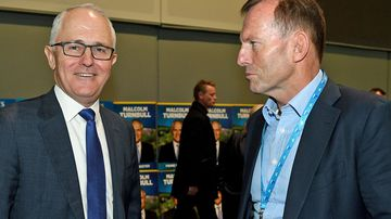 Prime Minister Malcolm Turnbull and former prime minister Tony Abbott speak during the NSW Liberal Party Futures convention in 2017.