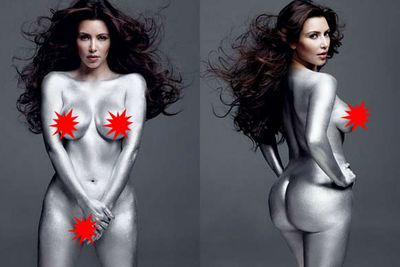 """Kim Kardashian's naked silver body-paint spread for <i>W Magazine</i> raised a lot of eyebrows, including her own. Crying to her sisters Kourtney and Khloe (and reality TV show cameramen), she sobbed, """"Oh my God, I'm more naked than I was in <i>Playboy</i>."""" She vowed to never take her clothes off for a magazine shoot again."""