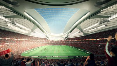 <p>An artist's impression of Hadid's design for the 2020 Tokyo Olympic stadium, which was scrapped amid spiralling costs and  criticism over the $2 billion design.</p><p>(AFP photo / Japan Sport Council)</p>
