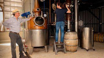 Toby Jones and his son Nick Jones at Bathurst Grange Distillery.