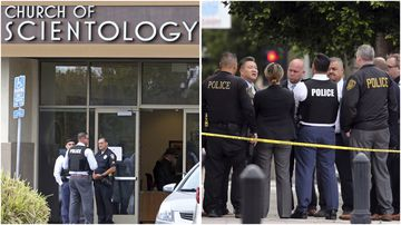 A sword wielding man has been shot in the head at the entrance to the Church of Scientology in Inglewood, California.