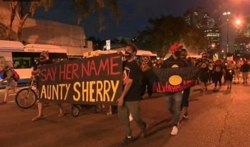 Protesters take to the streets in Queensland over the death in custody of Aunty Sherry.