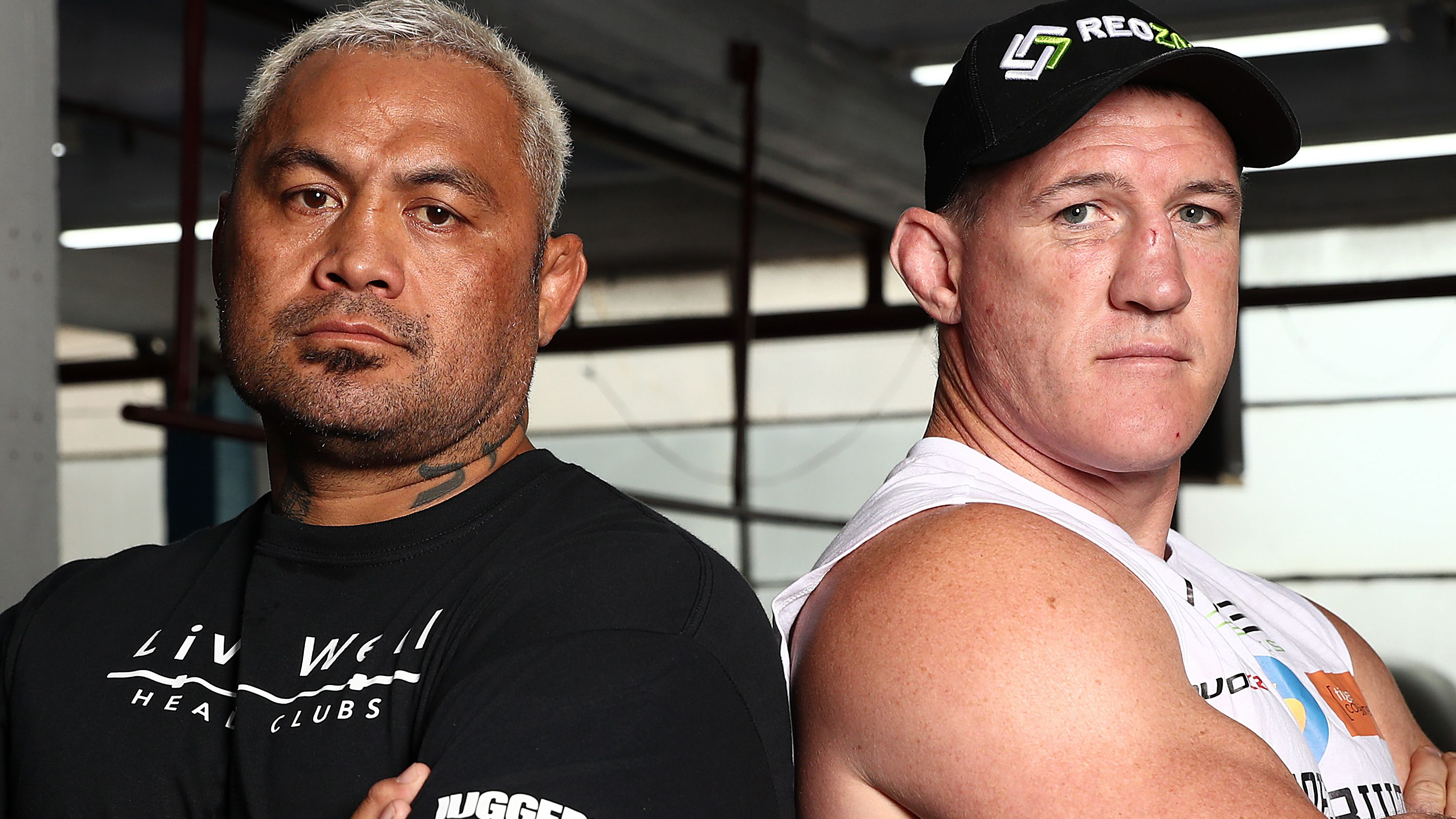 Mark Hunt and Paul Gallen pose during a media opportunity.