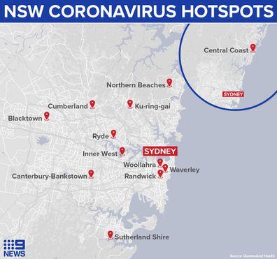 Coronavirus hotspots Sydney New South Wales