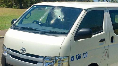 Several holes were seen in a van.