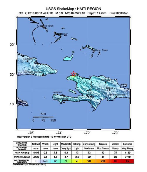 A handout photo made available by the US Geological Survey (USGS) shows the location of a 5.9 magnitude earthquake striking at a depth of 11.7km near Port-de-Paix, Haiti