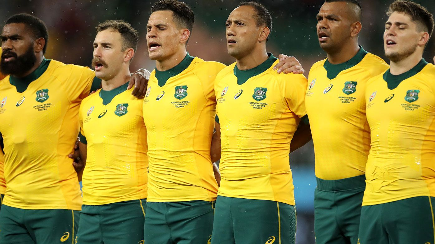 Wallabies line up in the Rugby World Cup