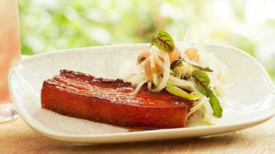 "Recipe:&nbsp;<a href=""http://kitchen.nine.com.au/2017/01/25/17/05/confit-pork-belly-aromatic-honey-glaze-with-citrus-and-fennel-salad"" target=""_top"">12 hour confit pork belly, aromatic honey glaze with citrus and fennel salad</a>"