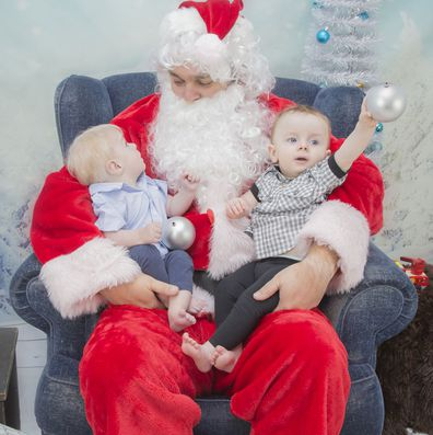 The Tiefel twins meet Father Christmas. Lucas has a rare condition meaning he'll die before he's 20, called Sanfilippo Syndrome.