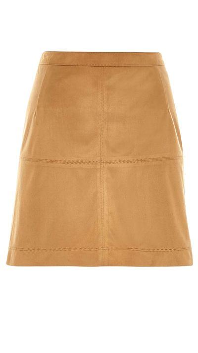 "<a href=""http://au.riverisland.com/women/skirts/a-line-skirts/brown-faux-suede-a-line-skirt-667641"" target=""_blank"">Faux Suede A-Line Skirt, $50, River Island</a>"