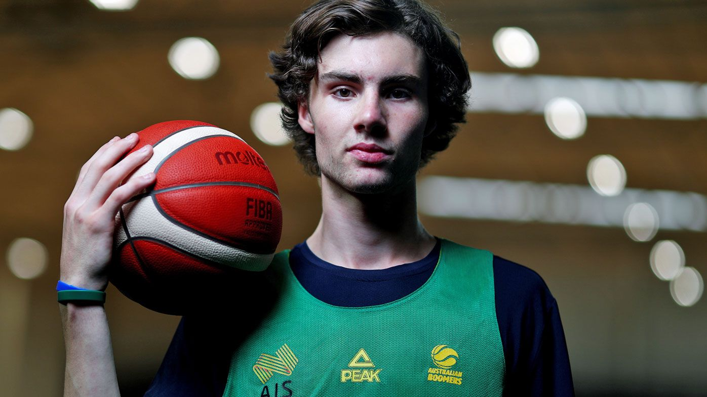 Josh Giddey poses during an Australian Boomers