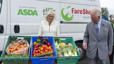 Prince Charles, Prince of Wales who is President of Business In The Community, and Camilla, Duchess of Cornwall visit an Asda distribution centre to thank staff who have kept the country's vital food supplies moving throughout the coronavirus pandemic on July 9, 2020 in Avonmouth, England
