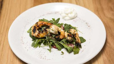 "Recipe: <a href=""https://kitchen.nine.com.au/2017/11/21/07/50/family-food-fight-the-shahrouks-garlic-prawns-with-rocket-and-radish-salad"" target=""_top"">FFF's The Shahrouk's garlic prawns with rocket and radish salad</a>"