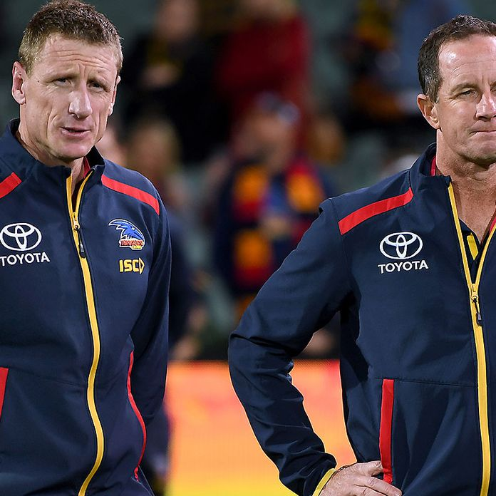 Adelaide's head of football Brett Burton and assistant coach Scott Camporeale sacked after external review
