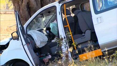 Six passengers in the minibus were hospitalised following the collision, but none of their injuries are life threatening. (9NEWS)