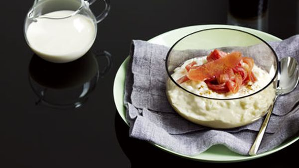 Breakfast risotto with poached rhubarb