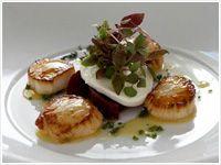 Roast sea scallops, beetroot, buffalo mozzarella, honey and thyme dressing