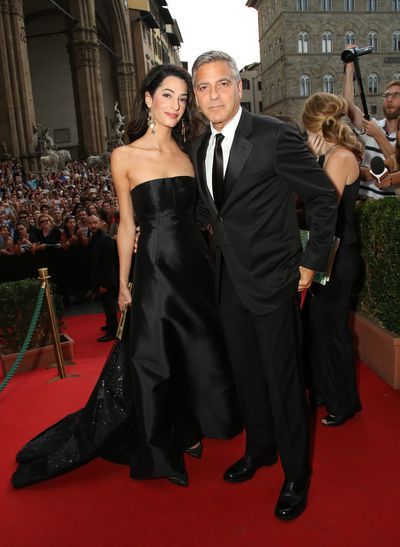 George and Amal Clooney, both in Dolce & Gabbana, at the Celebrity Fight Night Gala in Italy, September, 2014