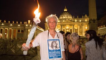 Pietro Orlandi, brother of Emanuela Orlandi, at St. Peter's Square Sit-in and torchlight procession to St. Peter's Square in Rome, Italy on June 22, 2018.