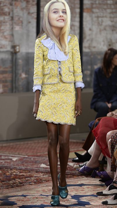 <p>The beloved yellow checked suit would get an update courtesy of Gucci Cruise '16.</p>