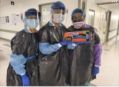 "The photo depicting three medical staff in ""Hefty"" brand garbage bags worn as protective gowns has circulated Twitter."