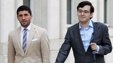 Martin Shkreli (right) outside court. (AAP)