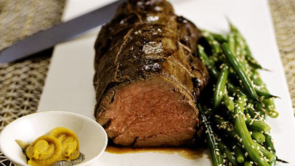 Japanese mustard-miso roasted beef fillet