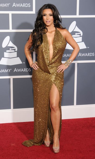 Kim Kardashian West in a gown from Kaufman Franco at the 2011 Grammy Awards