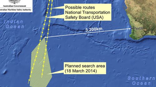 A map showing the search area for missing Malaysia Airlines flight MH370 off the coast of Western Australia. (AAP)