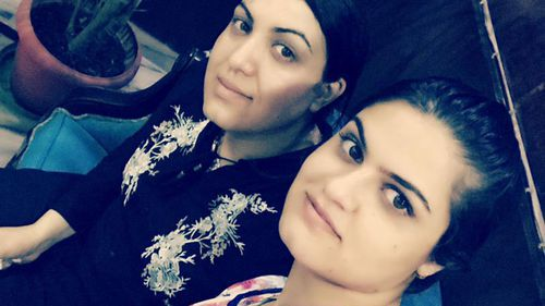 Lima (right) pictured with her sister Rana Haydari, who now lives in Melbourne.