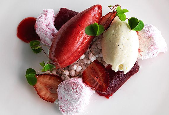 Joel Bickford's strawberry jelly, marshmallow, 'chips' and sorbet