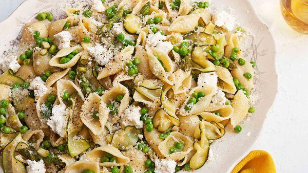 Lightly sauced pasta primavera with ricotta