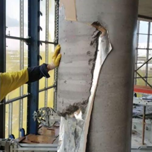 Part of a pillar was jackhammered away.