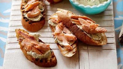 <strong>Hot-smoked trout bruschetta</strong>