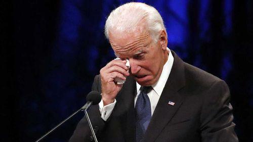 Joe Biden sheds a tear while speaking at John McCain's funeral.